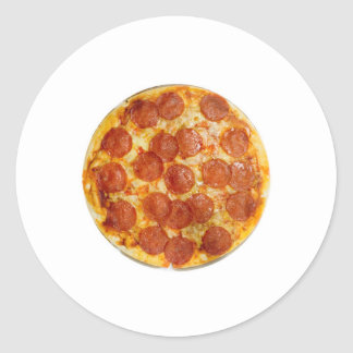 Pepperoni and cheese pizza classic round sticker