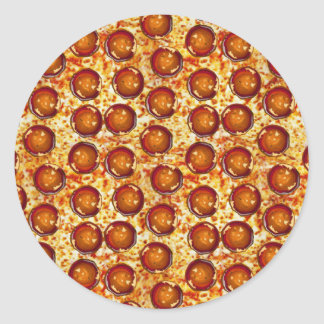 Pepperoni and Cheese Pizza Pattern Classic Round Sticker