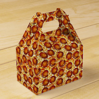 Pepperoni and Cheese Pizza Pattern Favor Boxes