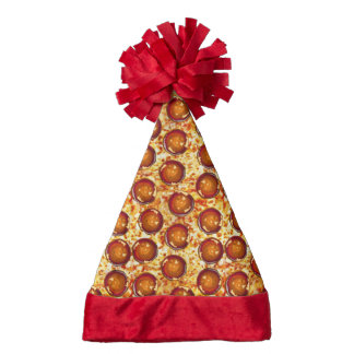 Pepperoni and Cheese Pizza Pattern Santa Hat