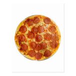 Pepperoni and cheese pizza post cards