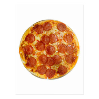 Pepperoni and cheese pizza postcard