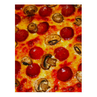 Pepperoni and Mushroom Pizza Postcard