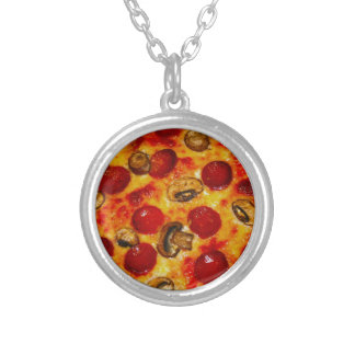Pepperoni and Mushroom Pizza Silver Plated Necklace