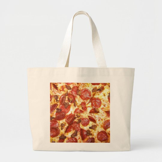Pepperoni and Sausage Pizza Lover Large Tote Bag