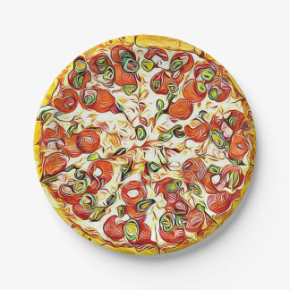 Pepperoni Green Pepper Small Cake Paper Plate