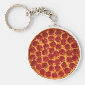 Pepperoni Pizza Basic Round Button Keychain