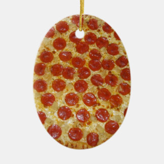 Pepperoni pizza Double-Sided oval ceramic christmas ornament