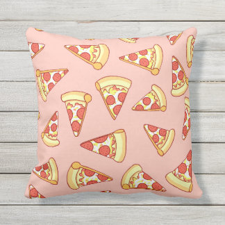 Pepperoni Pizza Drawing Pattern Reversible Cushion Outdoor Pillow