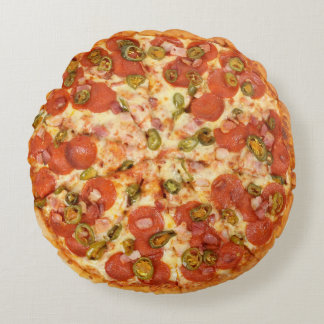 Pepperoni Pizza for the Man-Cave Round Pillow