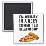 Pepperoni Pizza Love - A Serious Relationship 2 Inch Square Magnet