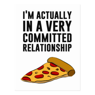 Pepperoni Pizza Love - A Serious Relationship Postcard