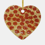 Pepperoni Pizza Double-Sided Heart Ceramic Christmas Ornament