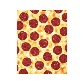 Pepperoni Pizza Pattern Canvas Print