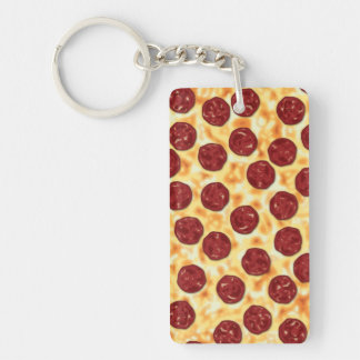 Pepperoni Pizza Pattern Double-Sided Rectangular Acrylic Keychain