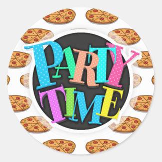 Pepperoni Pizza Pattern; Italian Food Round Sticker