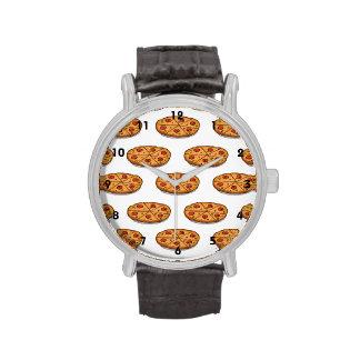 Pepperoni Pizza Pattern; Italian Food Wristwatches