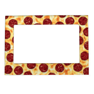 Pepperoni Pizza Pattern Magnetic Picture Frame