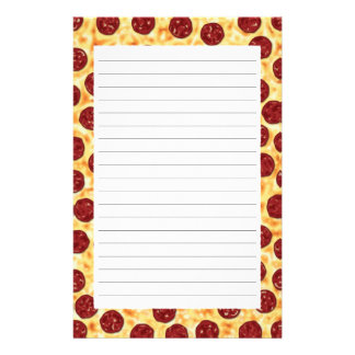 Pepperoni Pizza Pattern Stationery