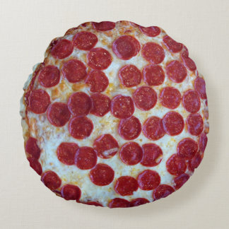 Pepperoni Pizza Photo Round Pillow