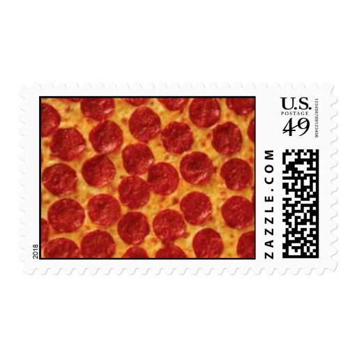 Pepperoni Pizza Postage Stamp