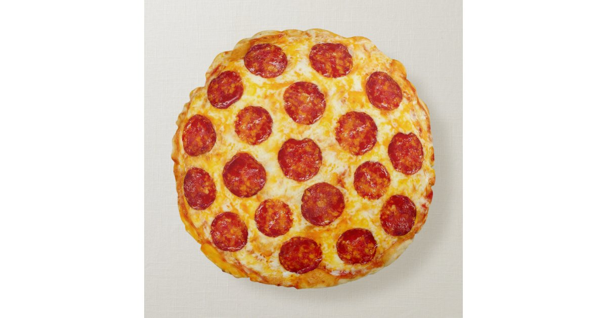 pepperoni pizza round throw pillow  zazzle