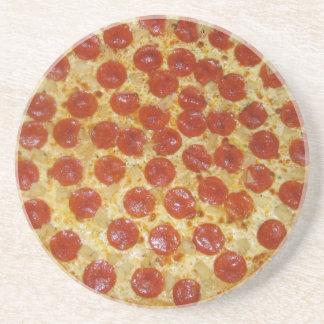Pepperoni pizza sandstone coaster