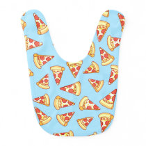 Pepperoni Pizza Slice Drawing Pattern Blue Bib