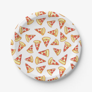Pepperoni Pizza Slice Drawing Pattern Paper Plates