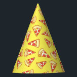 """Pepperoni Pizza Slice Drawing Pattern Party Hats<br><div class=""""desc"""">These funky hats are just the thing for your next office pizza party! Enjoy this hand-drawn seamless pattern of cheesy pepperoni pizza slices printed on sturdy yellow conical party hats.</div>"""