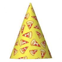 Pepperoni Pizza Slice Drawing Pattern Party Hats