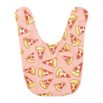 Pepperoni Pizza Slice Drawing Pattern Pink Bib