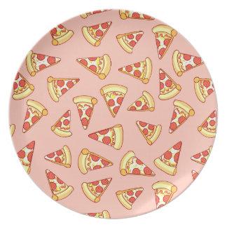Pepperoni Pizza Slice Drawing Pattern Plate