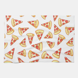 Pepperoni Pizza Slice Drawing Pattern Tea Towel