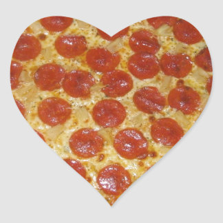 Pepperoni pizza heart stickers