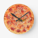 Pepperoni Pizza Time Round Wall Clocks
