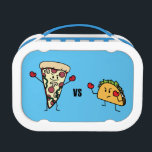 """Pepperoni Pizza VS Taco: Mexican versus Italian Lunch Box<br><div class=""""desc"""">Which one to choose?!? Pizza vs Taco? Italian or Mexican? Pizza with its crispy pepperoni,  melted cheese and tomato sauce or Taco with its crunchy shell,  carne asada,  cheese and lettuce? So hard to choose between the two! Berenice Limon &#169;. www.zazzle.com/kitteh03* for more designs!</div>"""