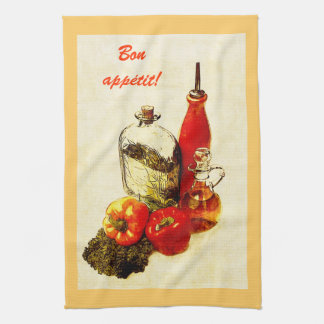 peppers and cooking oil kitchen towel
