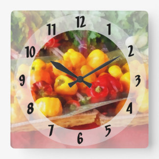 Peppers at Farmers Market Square Wall Clock