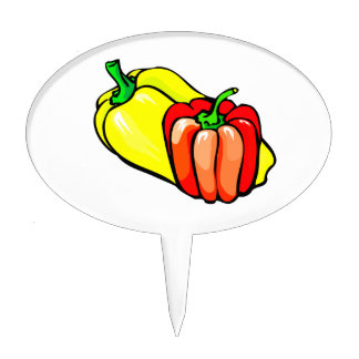 Peppers bright yellow and red graphic cake topper