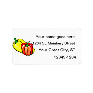 Peppers bright yellow and red graphic personalized address labels