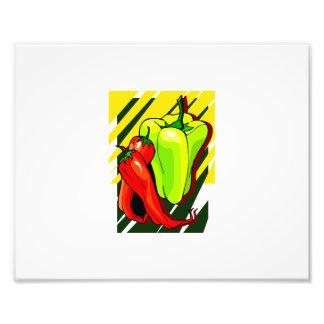 Peppers chili and yellow on yellow bg photographic print