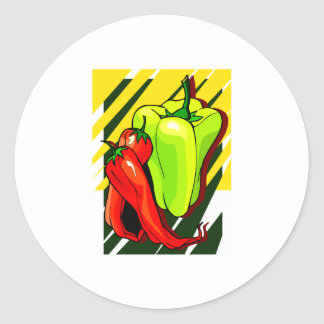 Peppers chili and yellow on yellow bg classic round sticker