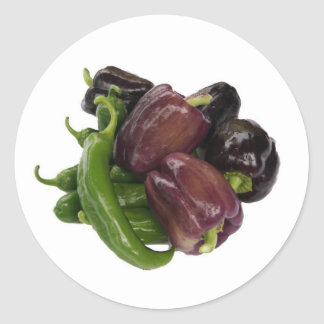 Peppers & eggplant classic round sticker