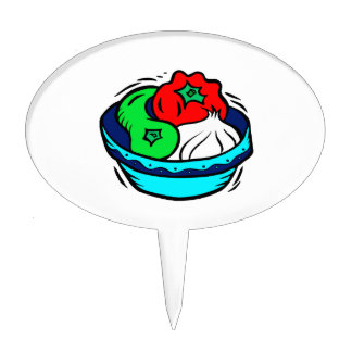 Peppers garlic in blue bowl graphic cake topper
