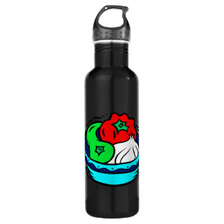 Peppers garlic in blue bowl graphic stainless steel water bottle