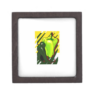 Peppers green and yellow on yellow bg keepsake box