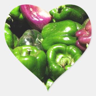 Peppers  Green Purple Heart Sticker