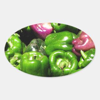 Peppers  Green Purple Oval Sticker