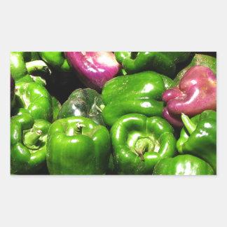 Peppers  Green Purple Rectangular Sticker